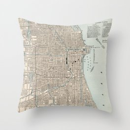 Vintage Map of Chicago (1893) Throw Pillow