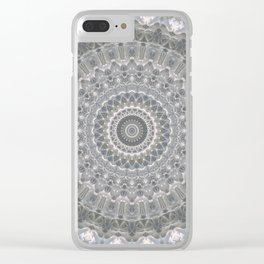 Mandala in white, grey and silver tones Clear iPhone Case