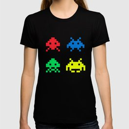 space aliens invaders stylish gamer art T-shirt