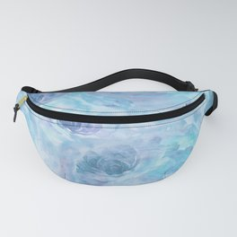 Blue and Purple Watercolor Roses Fanny Pack
