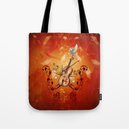 Violin with violin bow and dove Tote Bag