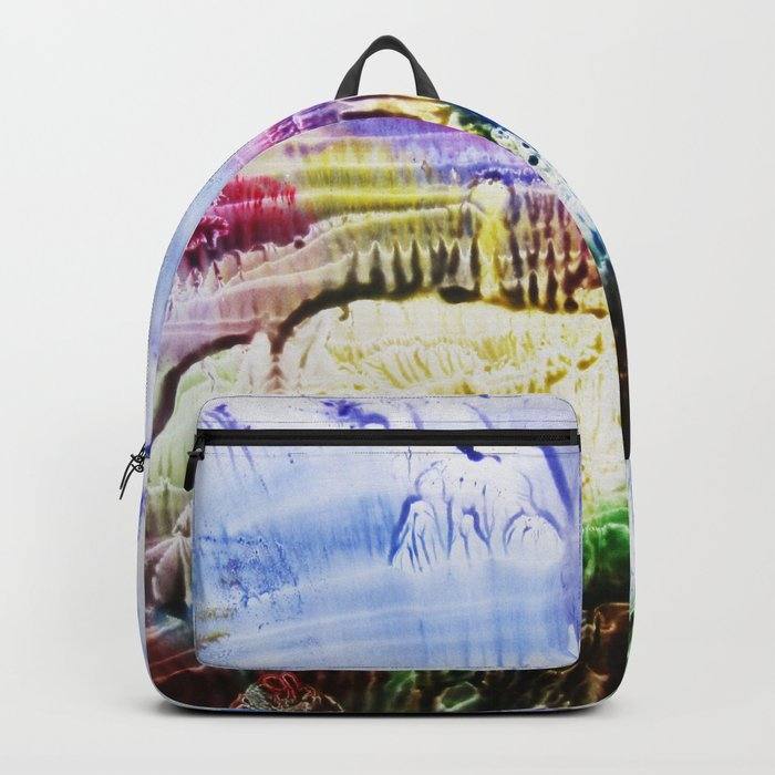 abstract composition of red and blue colours . artwork Backpack