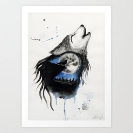 Moon Wolf Art Print
