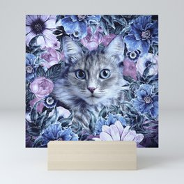 Cat In Flowers. Winter Mini Art Print