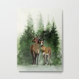 Deers in the Forest Metal Print