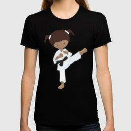 African American Girl, Karate Pose, Black Belt T-shirt