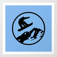 snowboarding Art Prints featuring snowboarding 3 by Paul Simms