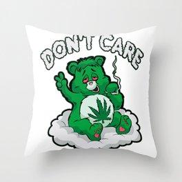 DO NOT CARE BEAR Smoking Bear Hemp Leaf Ganja 420 Throw Pillow