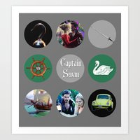 captain swan Art Prints featuring Captain Swan by Your Friend Elle