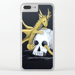 Gold Dragon & Skull Clear iPhone Case