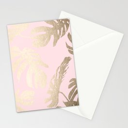 Simply Tropical Palm Leaves White Gold Sands on Flamingo Pink Stationery Cards