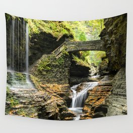 Photo New York City USA Watkins Glen State Park Nature Bridges stairway Waterfalls park bridge Stairs staircase Parks Wall Tapestry