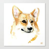 corgi Canvas Prints featuring Corgi by Elise Lesueur