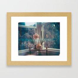 Amaryllis with hyacinth and meyer lemons Framed Art Print
