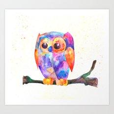 Owl, Bird watercolor painting print, watercolor art Art Print