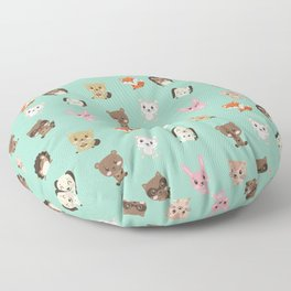 Cute Critters Funny Happy Forest Animal Friends Floor Pillow