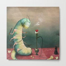 fairy tale story Wonderland with caterpillar and hookah Metal Print