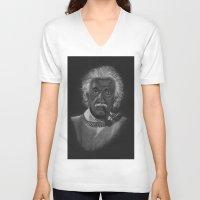 einstein V-neck T-shirts featuring Einstein by Paula Leão