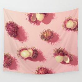 02_#Rambutan#tropical#fruits#in pink Wall Tapestry