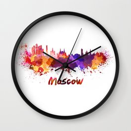 Moscow skyline in watercolor Wall Clock