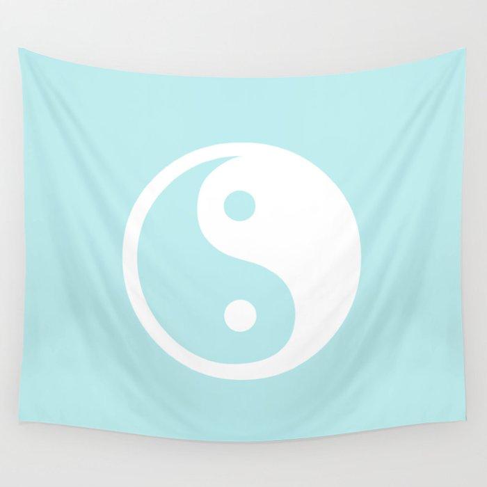 Turquoise Aqua Blue Harmony Yin Yang Wall Tapestry
