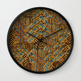 Samarkand blue and cocoa brown broken pattern Wall Clock
