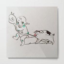 Baby ogre and his pig Metal Print