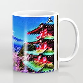 Cherry blossoms in full bloom with snow-capped Mount Fuji of Japan Landscape by Jéanpaul Ferro Coffee Mug