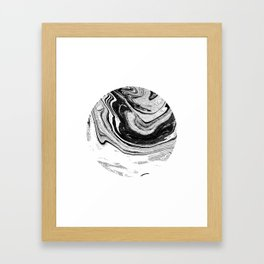 Chi - abstract minimal black and white modern art painting swirl marble pattern waves water Framed Art Print