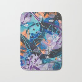 Blue, purple, and orange mixed media abstract painting Bath Mat