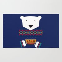 polar bear Area & Throw Rugs featuring Polar Bear by Marco Recuero