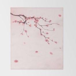 Oriental cherry blossom in spring 002 Throw Blanket