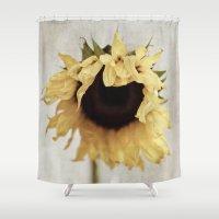 sunflower Shower Curtains featuring sunflower by Bonnie Jakobsen-Martin