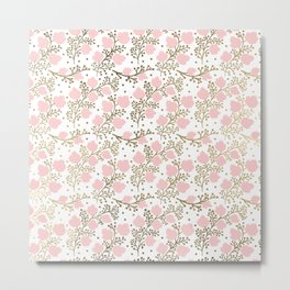 Girly blush pink faux gold elegant floral Metal Print