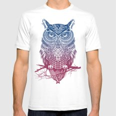 Evening Warrior Owl MEDIUM Mens Fitted Tee White