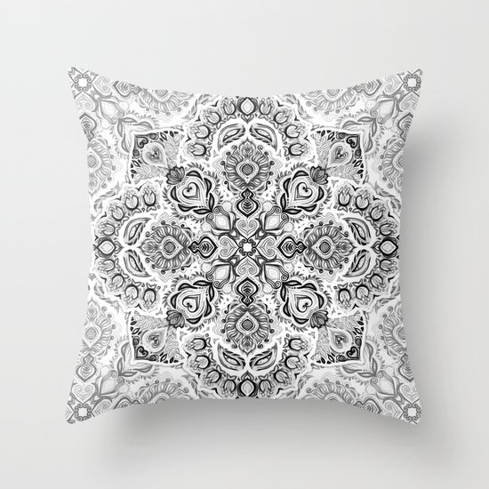 Pattern in Black & White Throw Pillow by Micklyn Society6