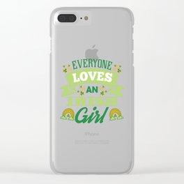 Cute St Patricks Day Irish Ireland Women Girl Gift Clear iPhone Case