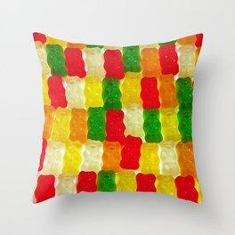 Colorful gummi bears Throw Pillow