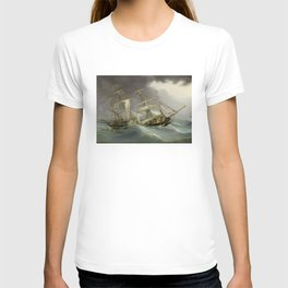 Vintage Destroyed Sailboat During Storm Painting (1859) T-shirt