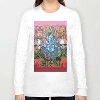 hindu Long Sleeve T-shirts featuring Hindu God by Vic Piano