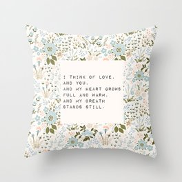 I think of love, and you - E. Dickinson Collection Throw Pillow