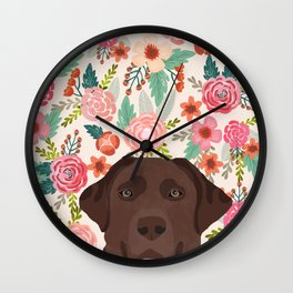 Chocolate Lab florals dog breed portrait pet art dog lover gifts labrador retriever Wall Clock