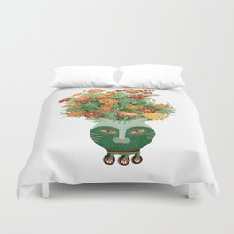 Marigolds in cat face vase  Duvet Cover