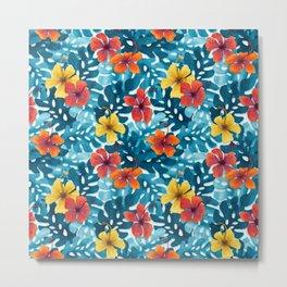 Tropical Hibiscus Pattern Summer Metal Print