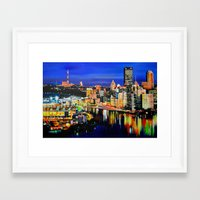 pittsburgh Framed Art Prints featuring Pittsburgh by Emily May Carson