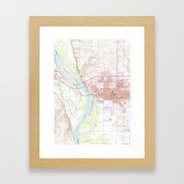 Vintage Map of Bismark North Dakota (1962) Framed Art Print