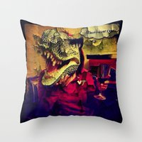 t rex Throw Pillows featuring T Rex by Carsick T-Rex