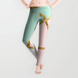Blush, Mint, White Geo with Gold #1 #minimal #decor #art #society6 Leggings