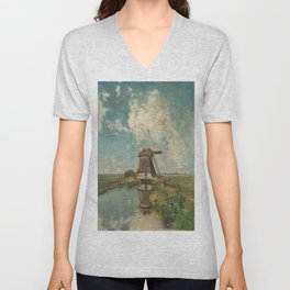 A mill on a polder canal, known as 'In the month of July' - Paul Joseph Constantin Gabriël (1889) Unisex V-Neck