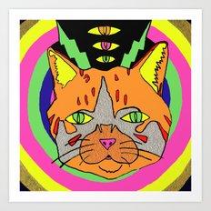 Hallucinogenic Kitty Art Print